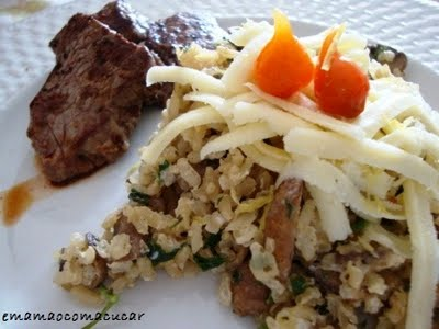 Arroz integral com cogumelo e cream cheese