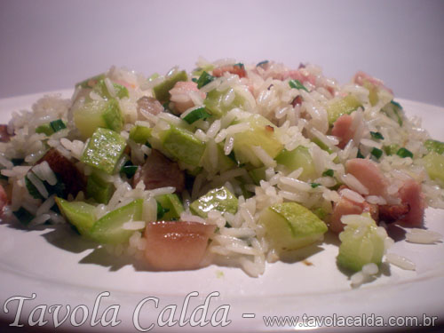 Arroz com Abobrinha Italiana e Bacon