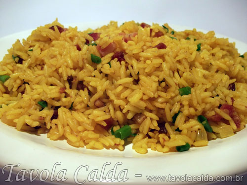 Arroz com Bacon e Açafrão
