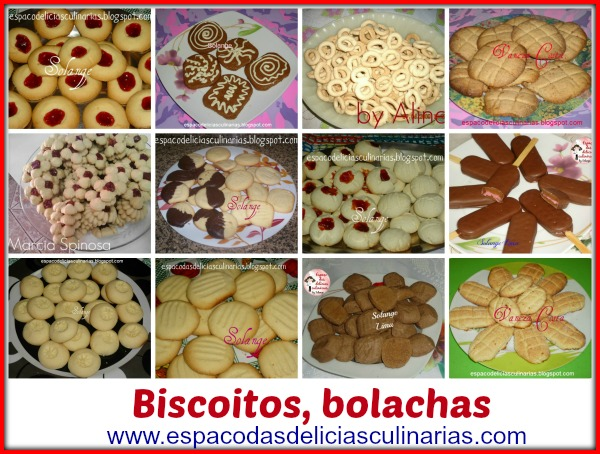 Biscoitos/bolachas, mural com as fotos e link para a receita do blog