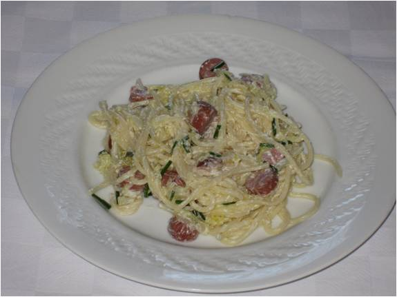 Esparguete Carbonara com courgette light