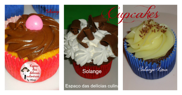 Cupcake: mural com as fotos e link para a receita do blog