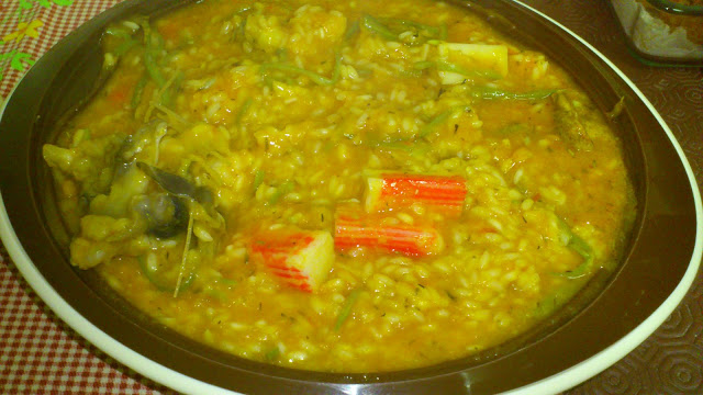 Arroz tamboril com feijão verde e delicias do mar