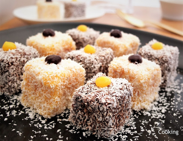 Lamington com chocolate e creme de laranja | Lamington with chocolate and orange curd